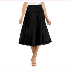 Hilary Radley Black Skirt Midi Tummy Band XXL NWT